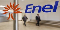 People walk past the logo of Italy's biggest utility Enel at their Rome headquarter